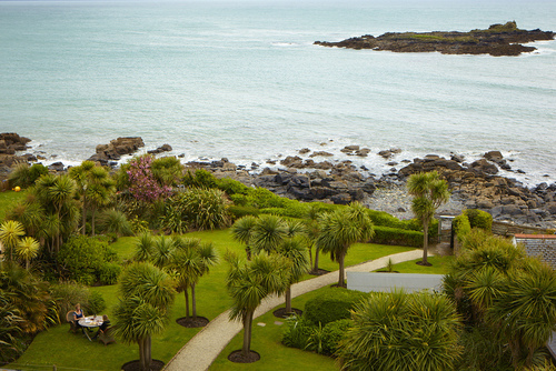 Tropical garden looking out to St Clement's Isle.